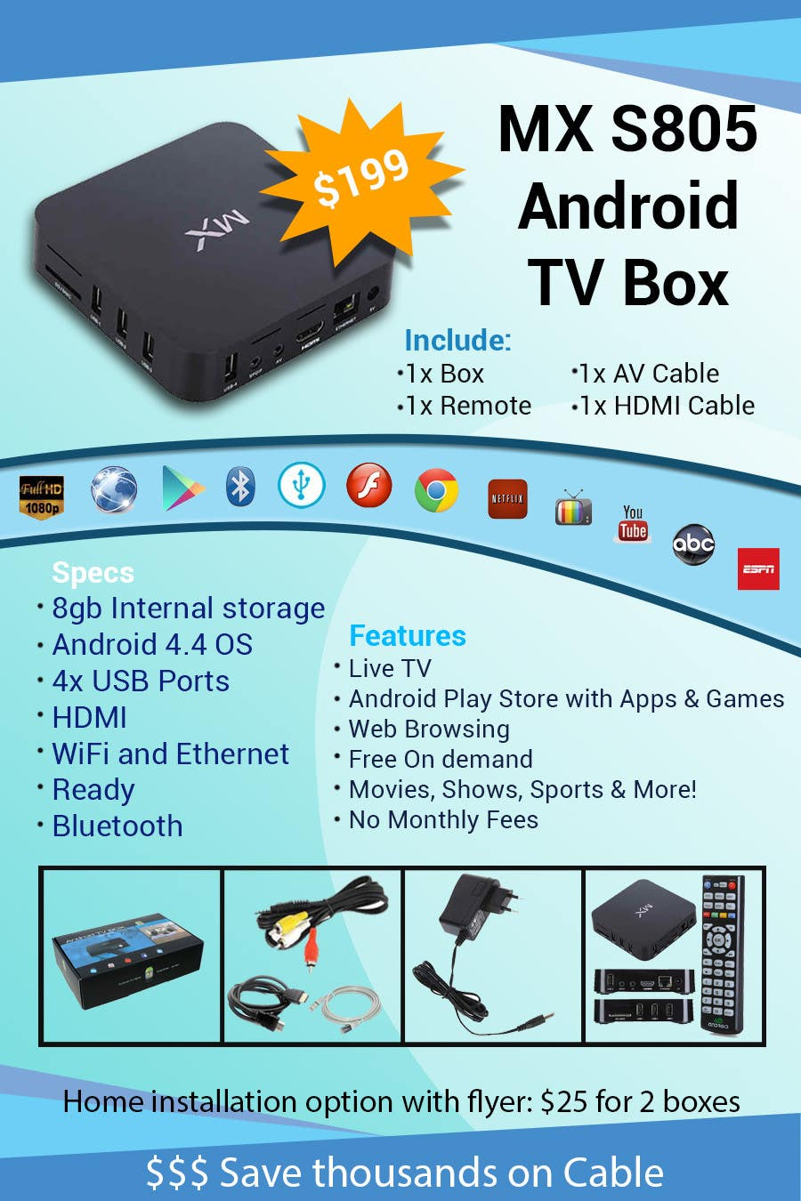 """Contest Entry #                                        9                                      for                                         Design a simple 4"""" x 6"""" Flyer for Android TV Boxes"""