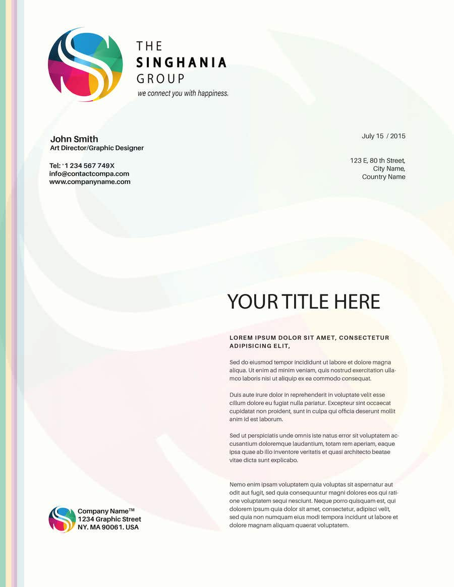 Contest Entry #                                        14                                      for                                         A premium letterhead to be designed.