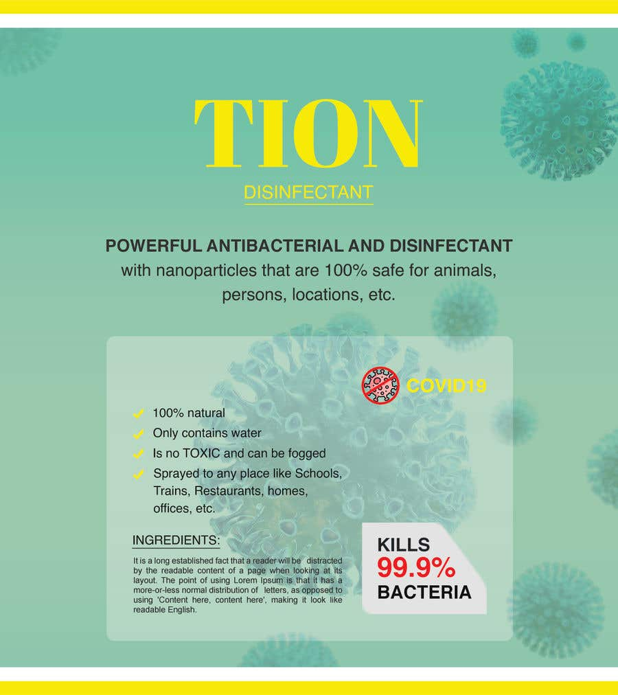 Proposition n°                                        10                                      du concours                                         Label  design with illustration for a disinfectant with nanoparticles