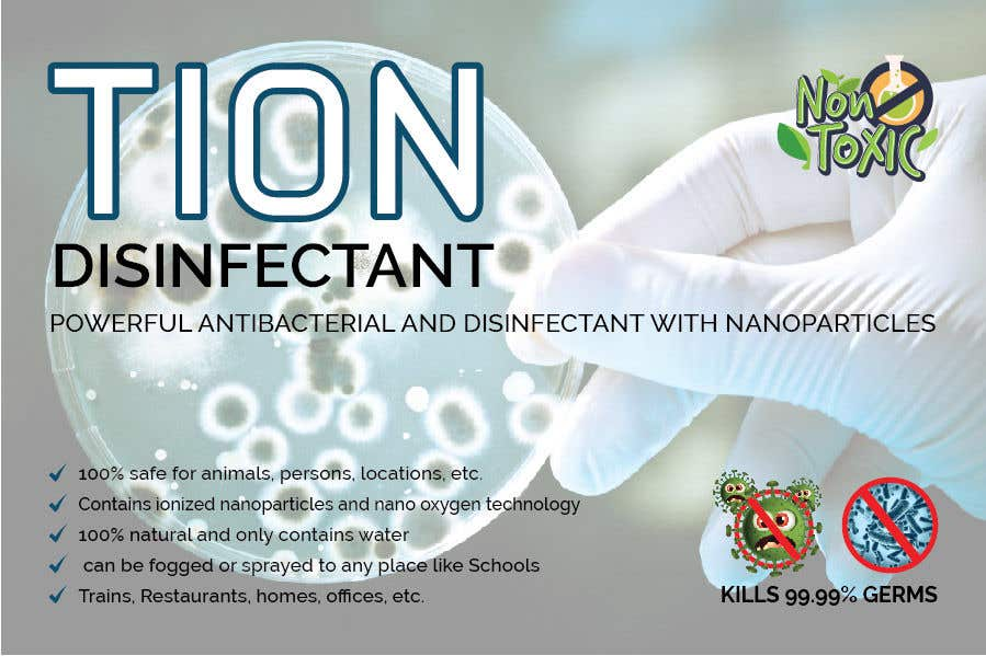 Proposition n°                                        24                                      du concours                                         Label  design with illustration for a disinfectant with nanoparticles
