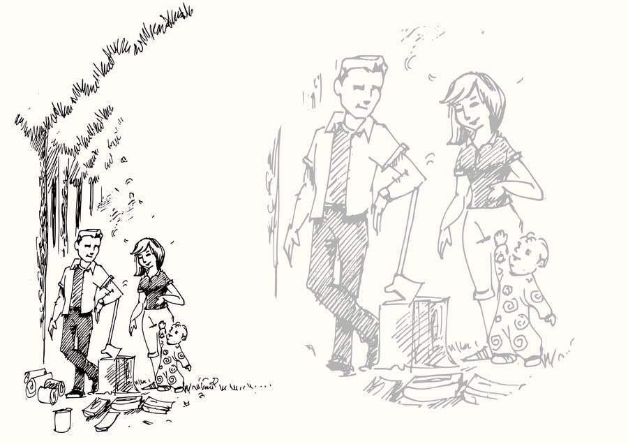Kilpailutyö #                                        2                                      kilpailussa                                         Family at wood splitting line drawing
