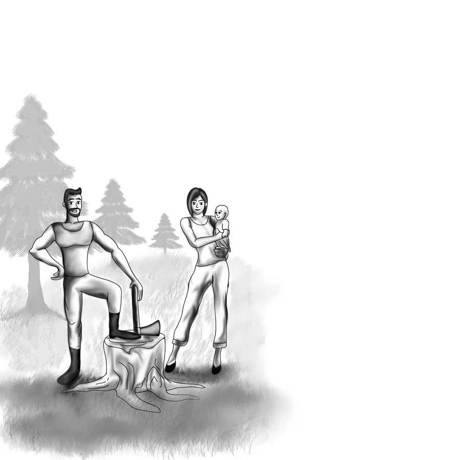 Kilpailutyö #                                        5                                      kilpailussa                                         Family at wood splitting line drawing