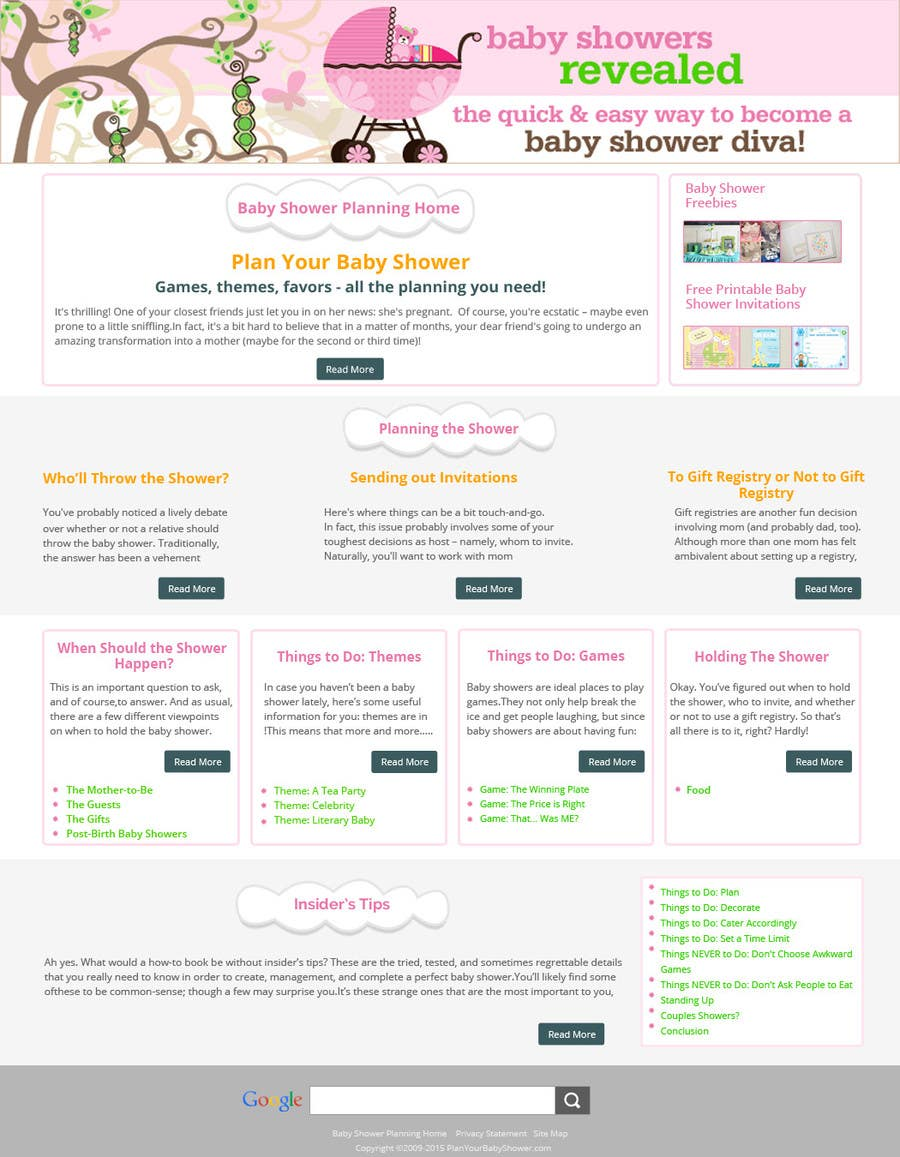 Contest Entry #                                        15                                      for                                         Design a Website Mockup for planyourbabyshower.com
