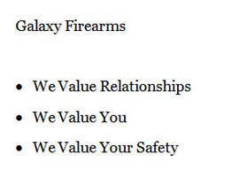 #15 cho Write a tag line/slogan for Galaxy Firearms bởi kimmenezes10