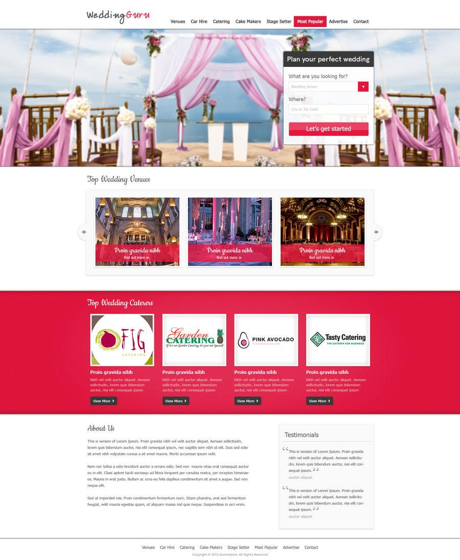 Bài tham dự cuộc thi #27 cho Website Design for Wedding Guru