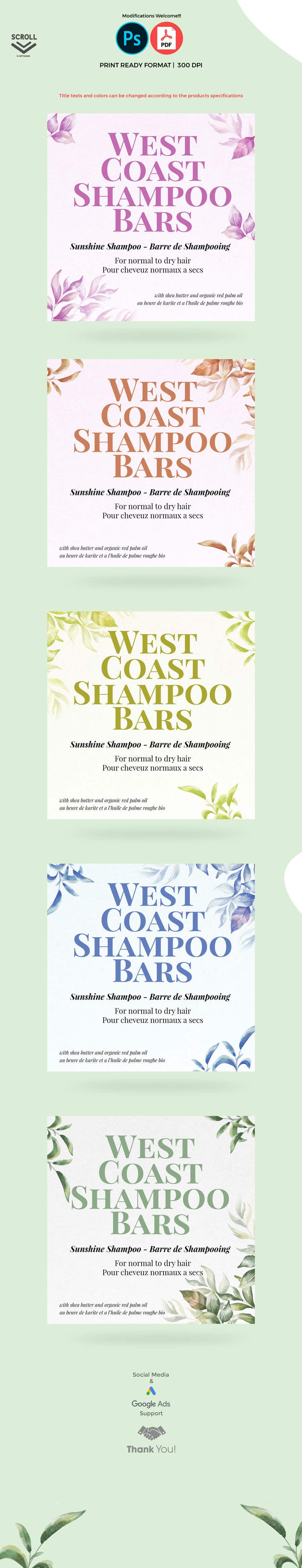 Bài tham dự cuộc thi #                                        21                                      cho                                         I need design help for packaging for shampoo and conditioner bars