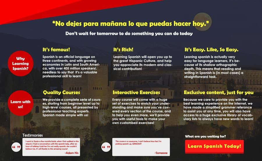 Contest Entry #                                        13                                      for                                         Online Spanish Course - Landing Page