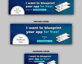 """#24 untuk A banner for my profiles that says """"I want to blueprint your app for free!"""". Make it interesting and clean. The final files must be sized for Facebook, LinkedIn and Twitter. Also include the company web address: theappguys.come oleh Taposs"""