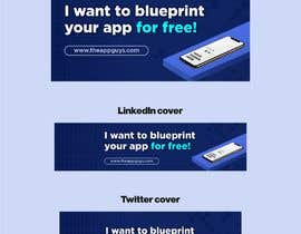 """#10 untuk A banner for my profiles that says """"I want to blueprint your app for free!"""". Make it interesting and clean. The final files must be sized for Facebook, LinkedIn and Twitter. Also include the company web address: theappguys.come oleh pradana17"""