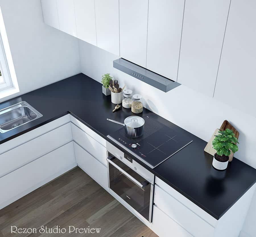 Proposition n°                                        57                                      du concours                                         3D rendering kitchen, bathroom.
