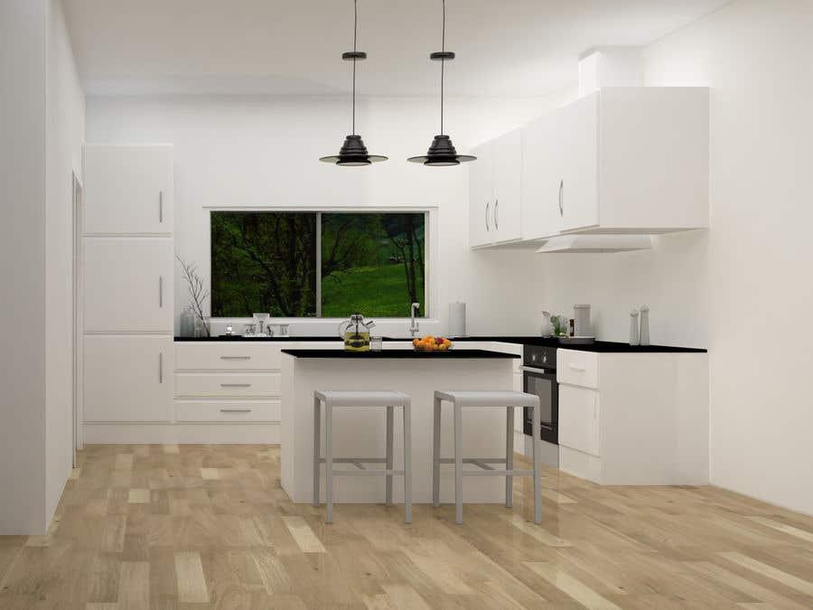 Proposition n°                                        32                                      du concours                                         3D rendering kitchen, bathroom.