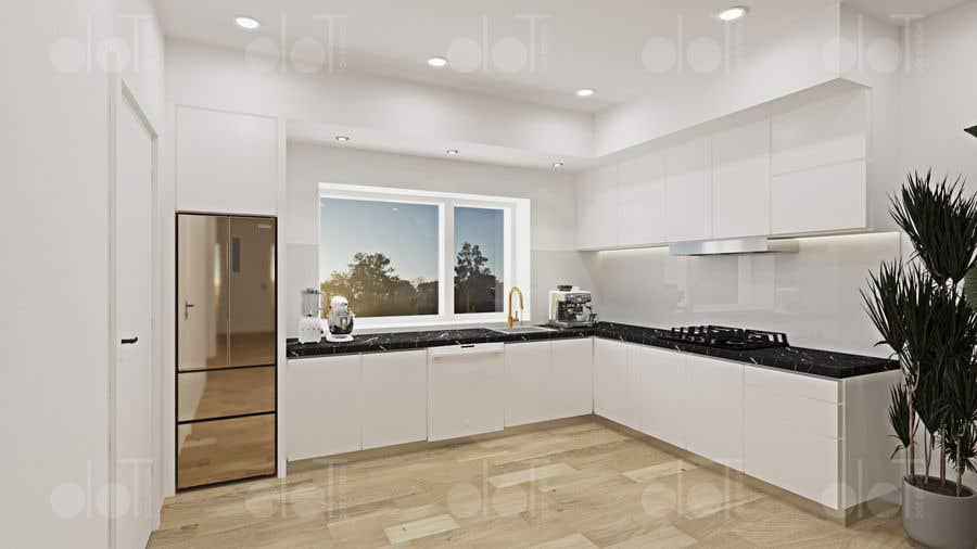 Proposition n°                                        42                                      du concours                                         3D rendering kitchen, bathroom.