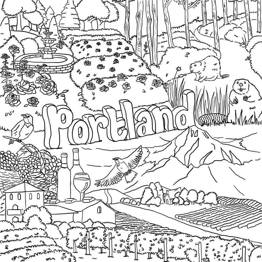 Penyertaan Peraduan #                                        48                                      untuk                                         Draw a coloring page for a Portland, Oregon restaurant