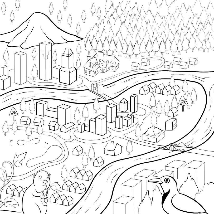 Penyertaan Peraduan #                                        45                                      untuk                                         Draw a coloring page for a Portland, Oregon restaurant