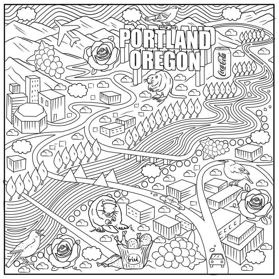Penyertaan Peraduan #                                        49                                      untuk                                         Draw a coloring page for a Portland, Oregon restaurant