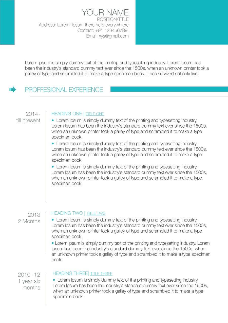 Inscrição nº 65 do Concurso para A inventive Resume template