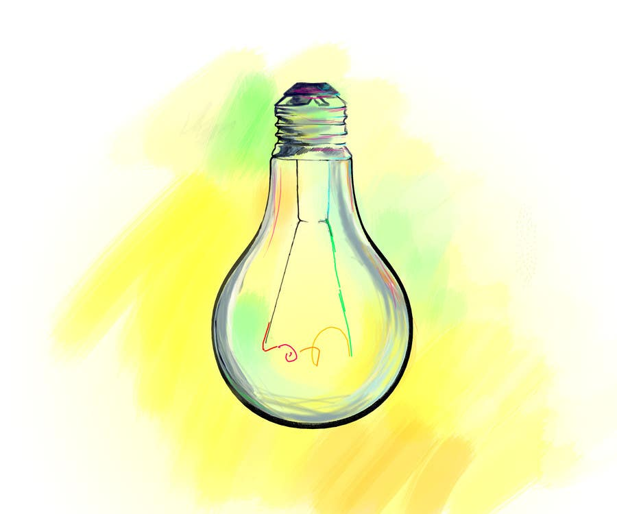 Contest Entry #                                        20                                      for                                         Design an light bulb in an abstract modern hand drawing style