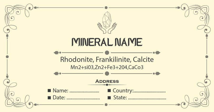 Bài tham dự cuộc thi #                                        89                                      cho                                         I need a simple template for a mineral label which is like a business card like card for identifying minerals like a name-tag