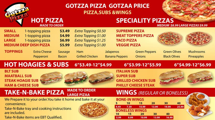 Bài tham dự cuộc thi #9 cho Design an Advertisement for MENU for PIZZA
