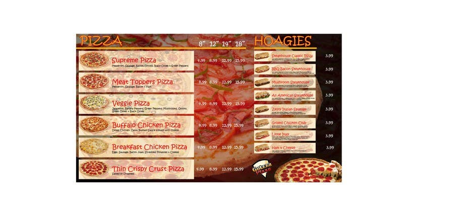 Bài tham dự cuộc thi #5 cho Design an Advertisement for MENU for PIZZA