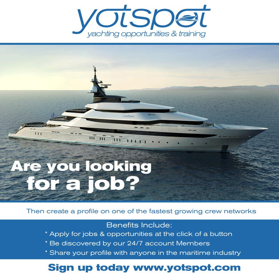 Proposition n°8 du concours Design a Flyer for Yotspot (a superyacht recruitment company)