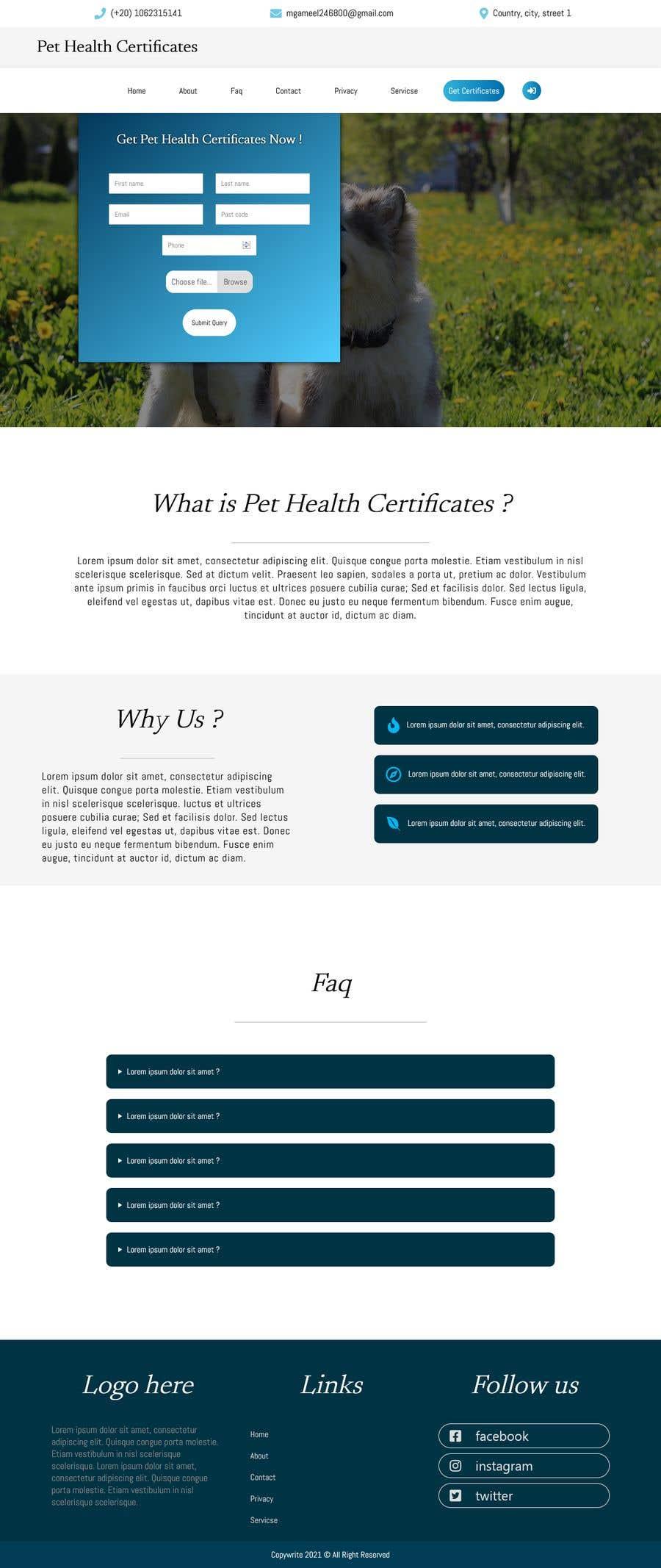 Kilpailutyö #                                        4                                      kilpailussa                                         Create a website mockup for a business that offers pet health certificates