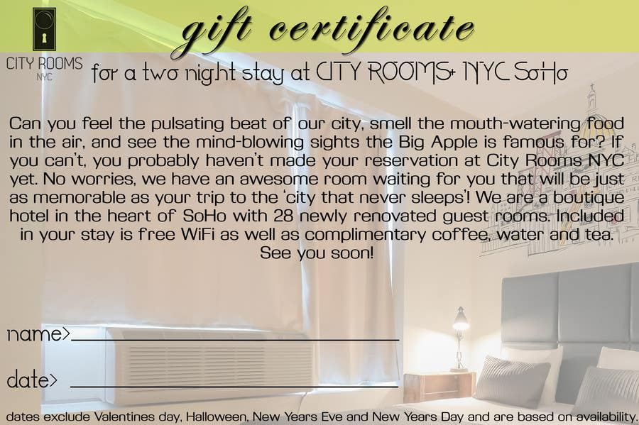 Contest Entry #                                        17                                      for                                         Design a Gift certificate fot a Hotel stay for 2 nights