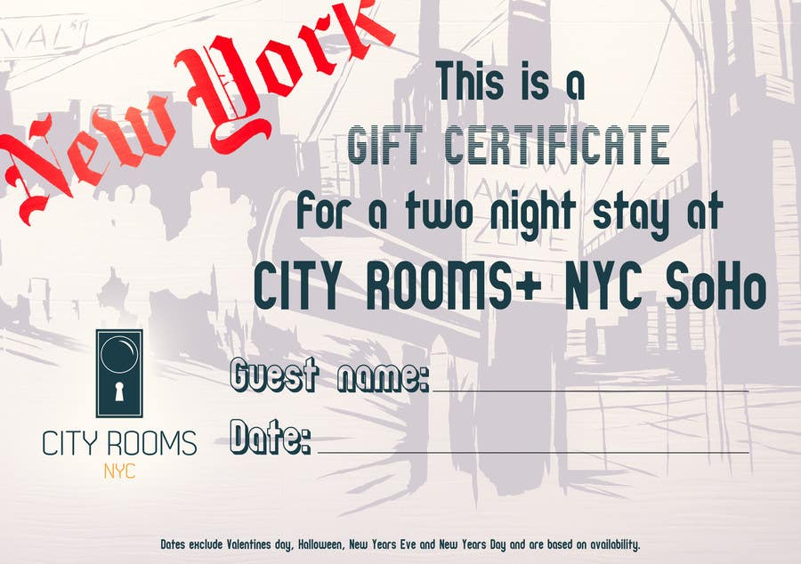 Contest Entry #                                        5                                      for                                         Design a Gift certificate fot a Hotel stay for 2 nights