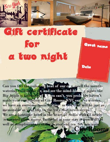 Contest Entry #                                        6                                      for                                         Design a Gift certificate fot a Hotel stay for 2 nights