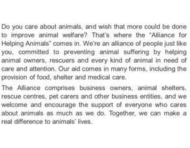 "#10 untuk Write a description of ""Alliance for Helping Animals"" oleh GavinParish"