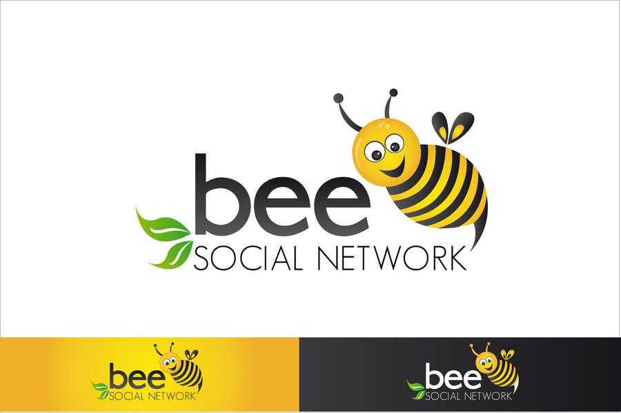 Kilpailutyö #156 kilpailussa Logo Design for Logo design social networking. Bee.Textual.Illustrative.Iconic