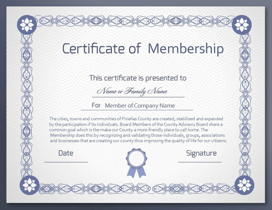 Contest Entry #                                        6                                      for                                         Design a membership certificate