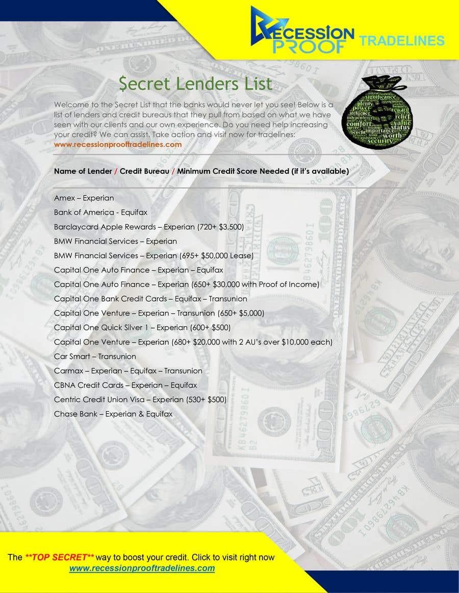 Penyertaan Peraduan #                                        13                                      untuk                                         Build me a Secret Lenders List