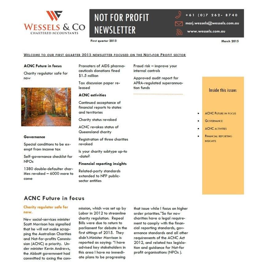 Kilpailutyö #10 kilpailussa Design a Newsletter for an Audit firm