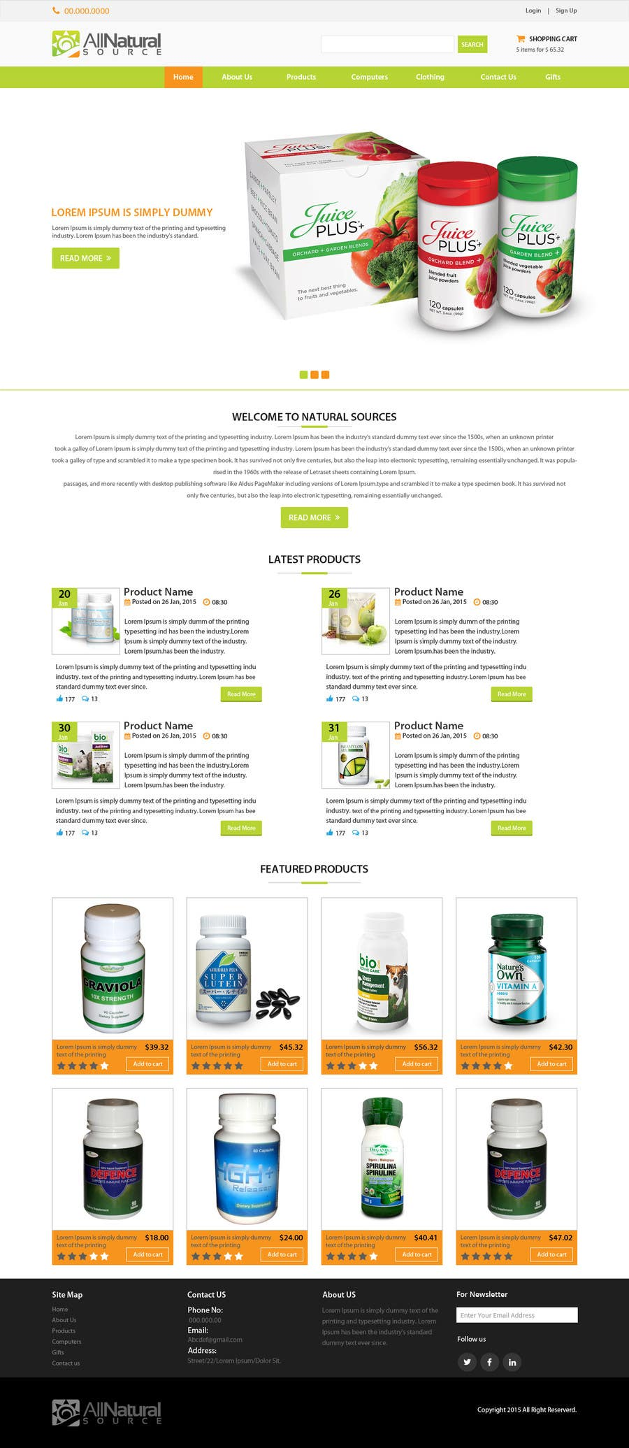 Contest Entry #                                        4                                      for                                         Design a Website Mockup for Natural Products E-Commerce Site