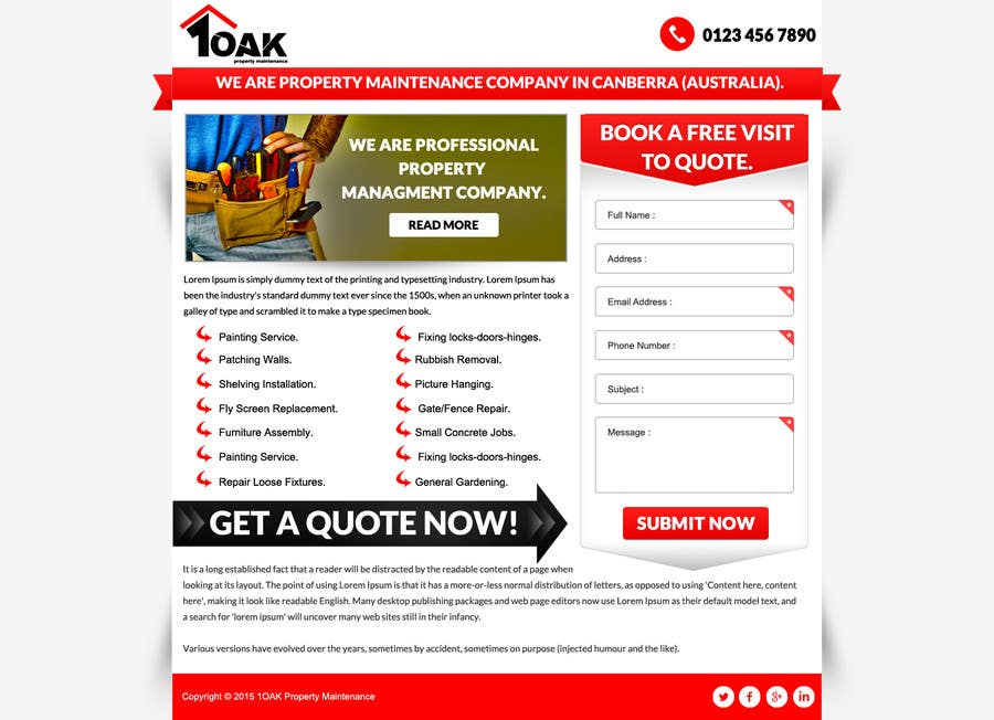 Contest Entry #                                        4                                      for                                         Build a Website for 1oak property maintenance