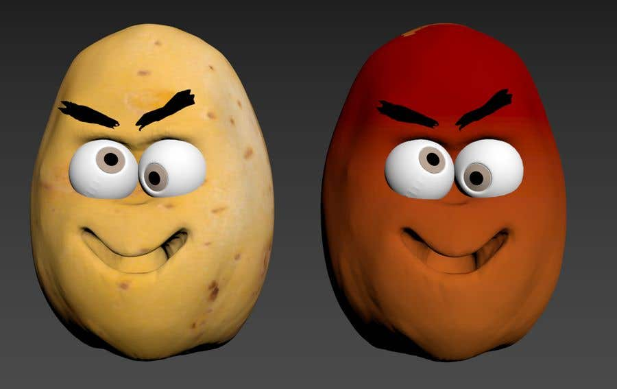 Kilpailutyö #                                        8                                      kilpailussa                                         Two 2D potatoes with faces for use in a mobile UNITY game. Export through BLENDER.