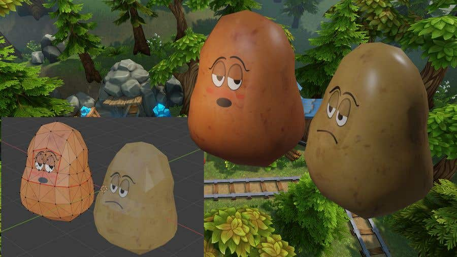 Kilpailutyö #                                        19                                      kilpailussa                                         Two 2D potatoes with faces for use in a mobile UNITY game. Export through BLENDER.