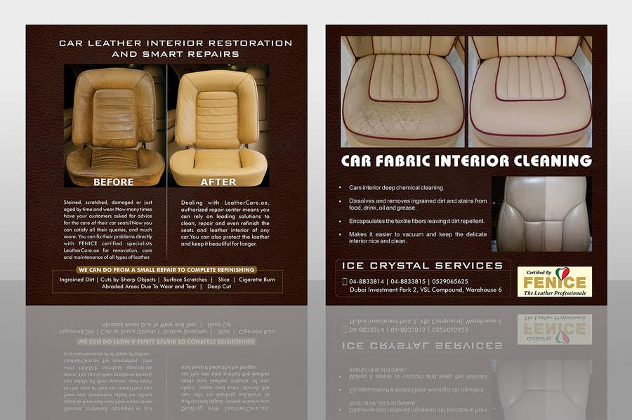 Proposition n°                                        4                                      du concours                                         Design a Flyer for Car Interior Leather Restoration and Fabric Cleaning