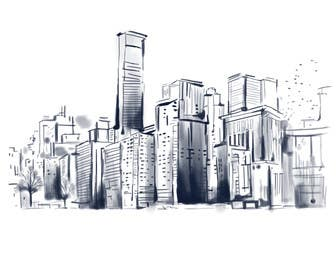 #6 untuk Design a hand drawn abstract skyline on white background oleh squirrel1811