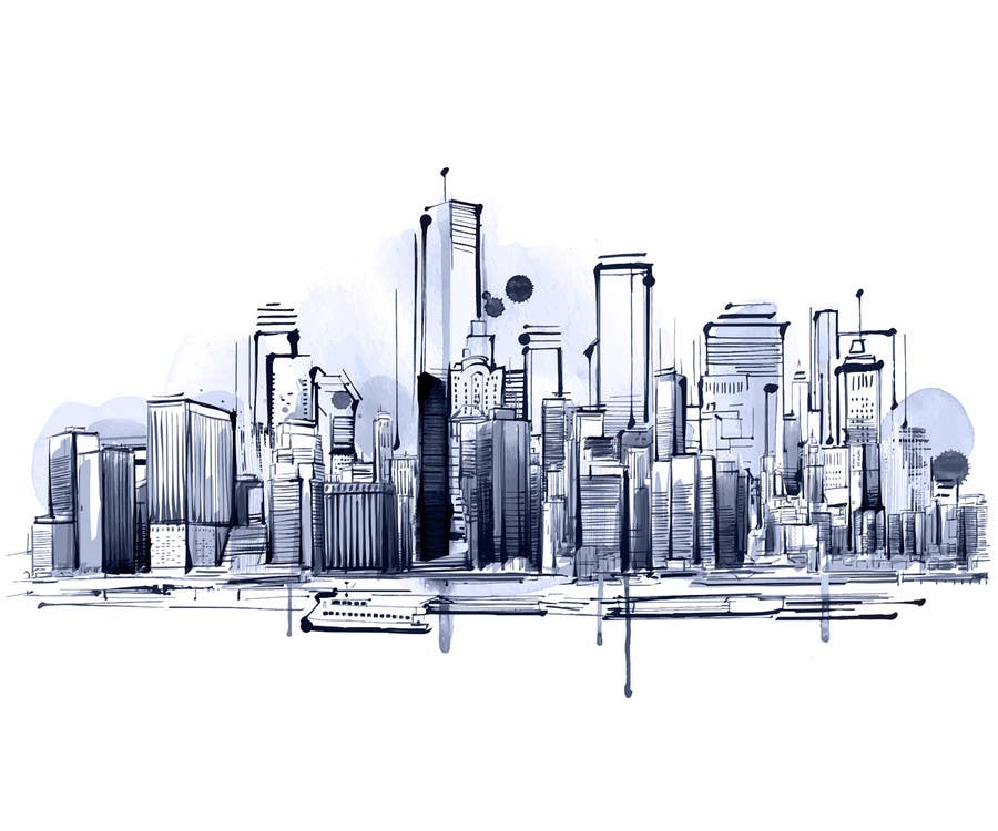 Konkurrenceindlæg #                                        14                                      for                                         Design a hand drawn abstract skyline on white background