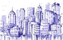 Graphic Design Konkurrenceindlæg #13 for Design a hand drawn abstract skyline on white background