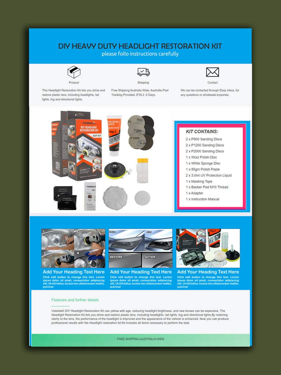 Proposition n°                                        17                                      du concours                                         Headlight Restoration kit