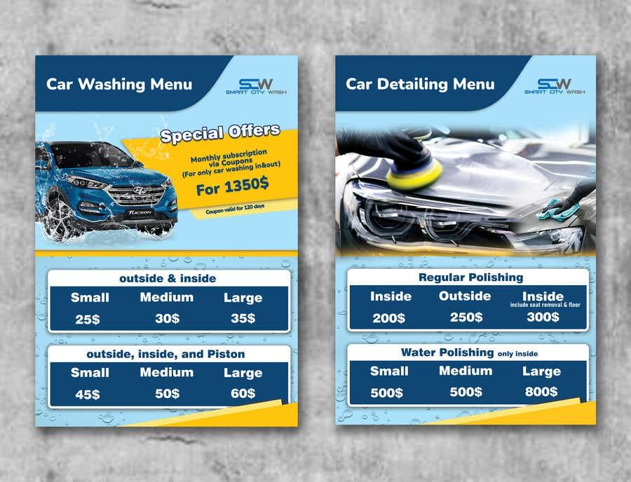 Kilpailutyö #                                        13                                      kilpailussa                                         Price Board and IG Post Design for Car Wash Shop