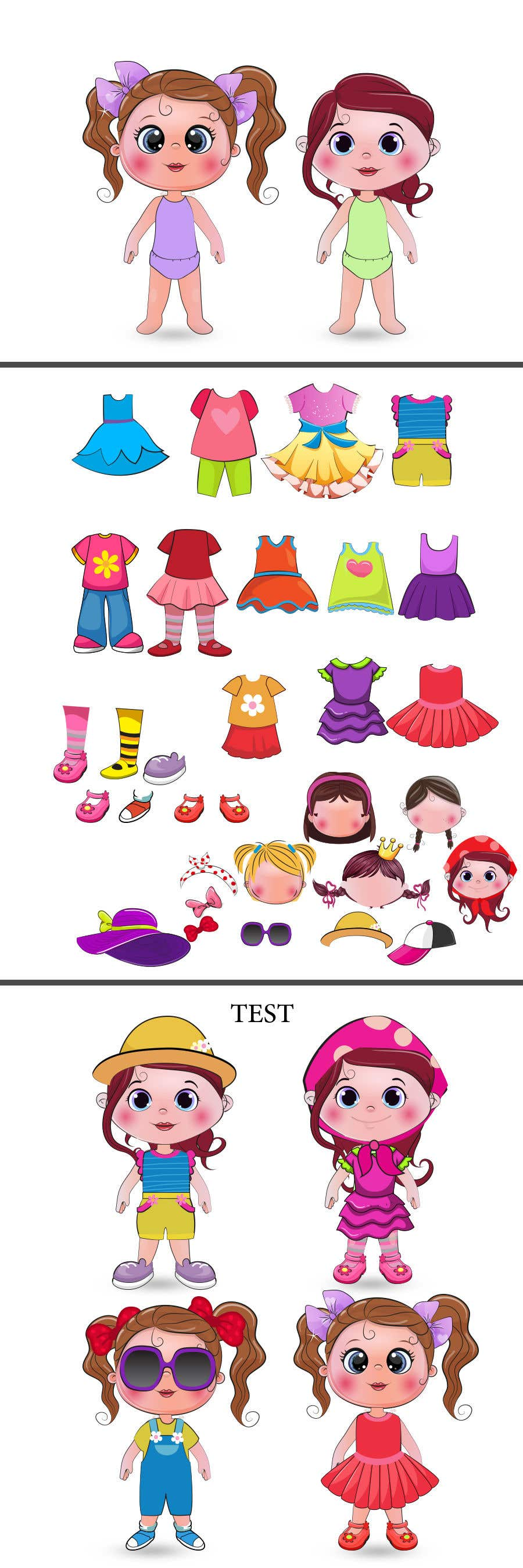 Конкурсная заявка №                                        42                                      для                                         Illustration of cute little girls with outfit