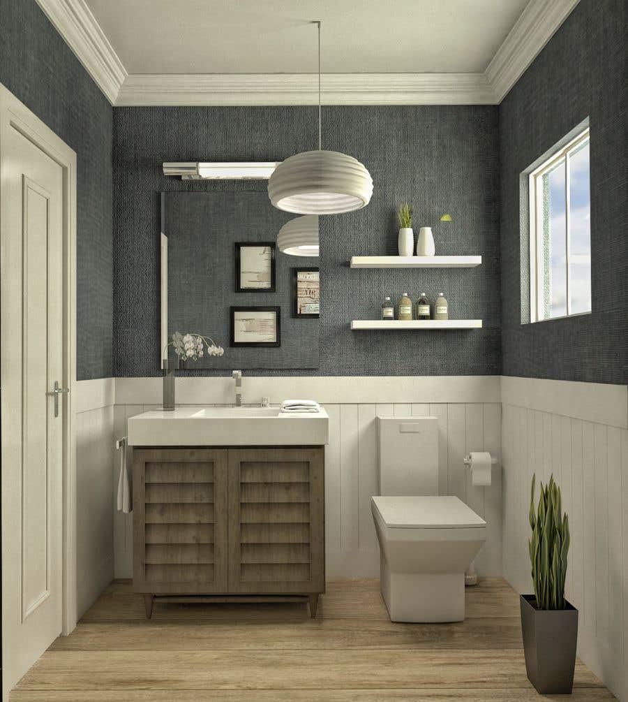 Bài tham dự cuộc thi #                                        32                                      cho                                         Half bath interior design in 3d - coastal transitional design style