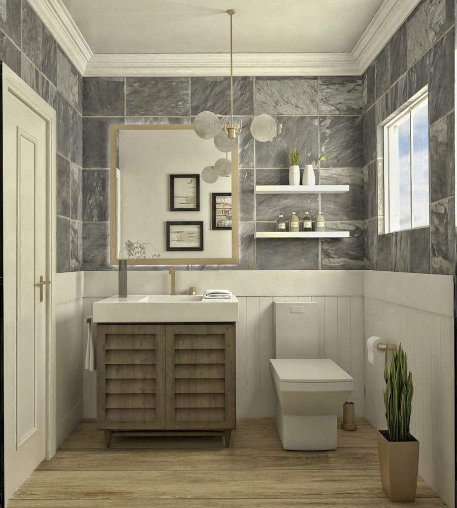 Bài tham dự cuộc thi #                                        34                                      cho                                         Half bath interior design in 3d - coastal transitional design style