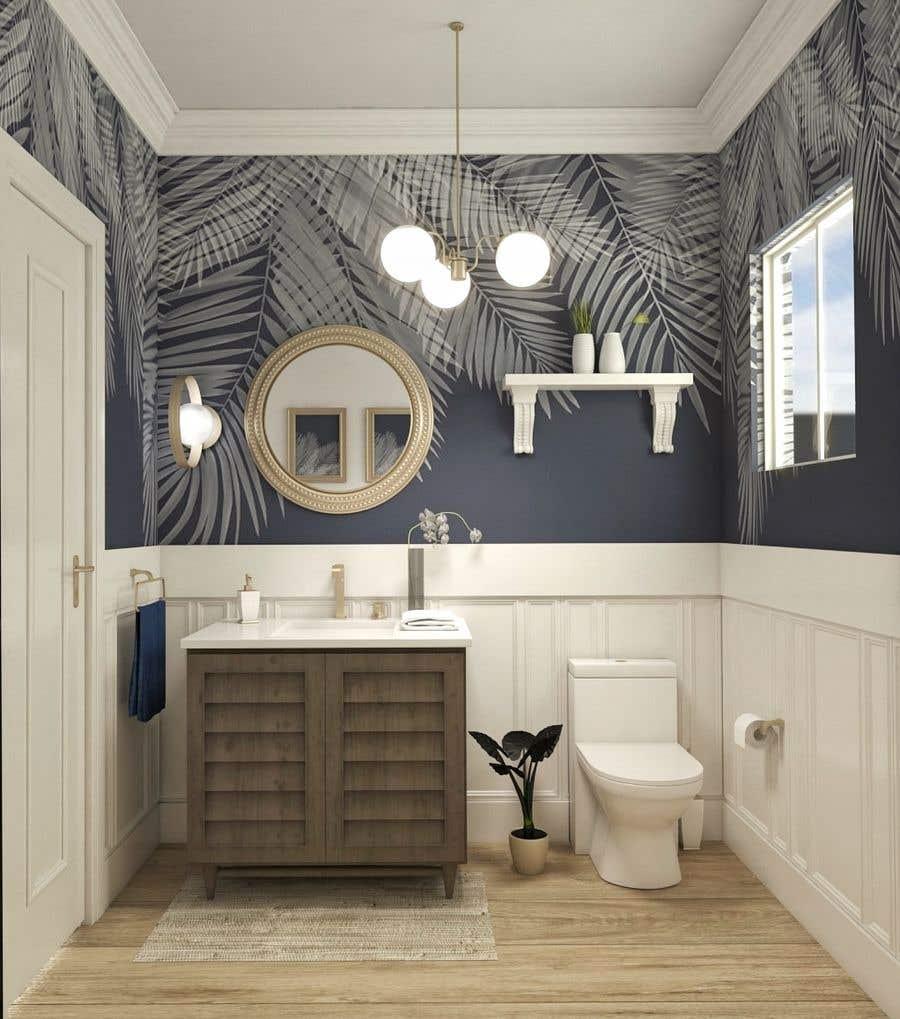 Bài tham dự cuộc thi #                                        38                                      cho                                         Half bath interior design in 3d - coastal transitional design style
