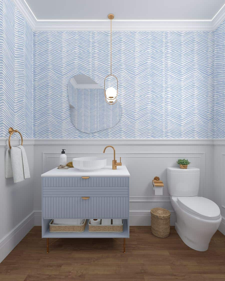 Bài tham dự cuộc thi #                                        40                                      cho                                         Half bath interior design in 3d - coastal transitional design style