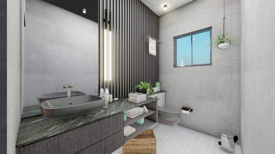 Bài tham dự cuộc thi #                                        33                                      cho                                         Half bath interior design in 3d - coastal transitional design style